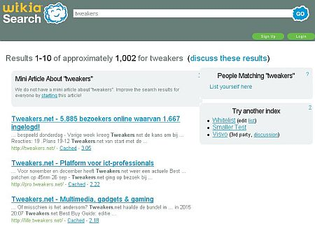 query 'tweakers' op Wikia Search