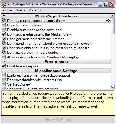 XP-AntiSpy 3.96-7 screenshot