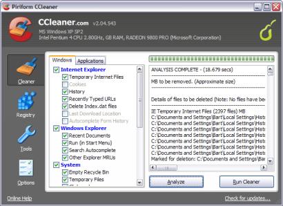 Crap Cleaner 2.04.543 screenshot (410 pix)
