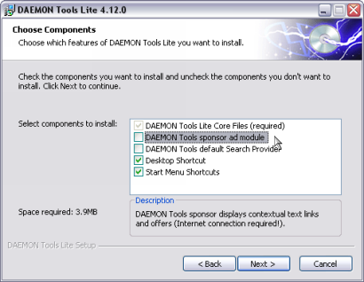Daemon Tools 4.12.0 installatie screenshot (410 pix)