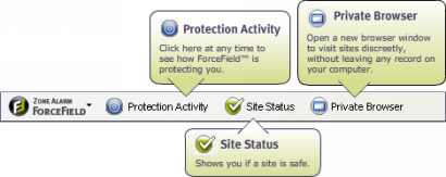ZoneAlarm ForceField toolbar (410 pix)