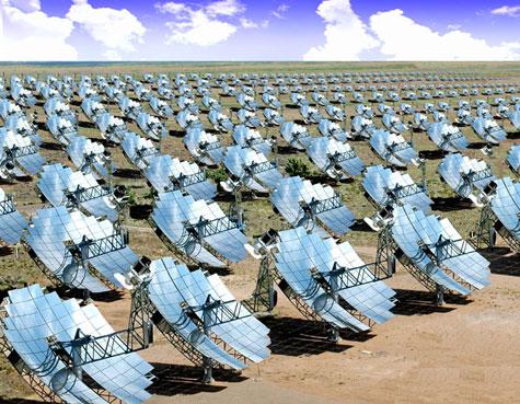Park met collectoren voor zonne-energie (render)