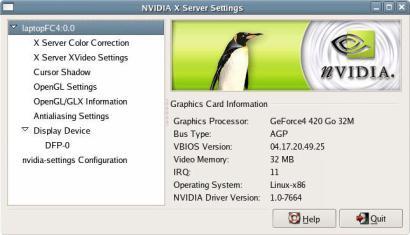 nVidia Linux Display Driver screenshot (410 pix)