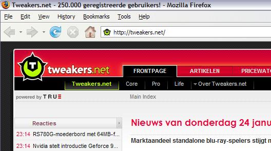 250.000ste geregistreerde gebruiker (uitsnede)