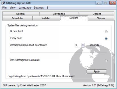 JkDefragGUI 1.01 screenshot (410 pix)