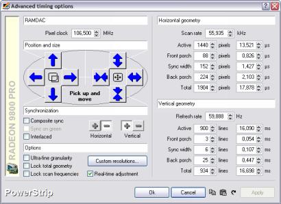 PowerStrip screenshot (410 pix)