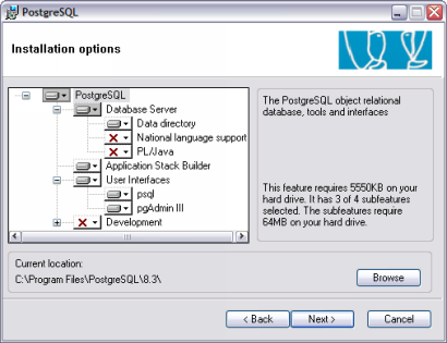 PostgreSQL 8.3 setup screenie (410 pix)
