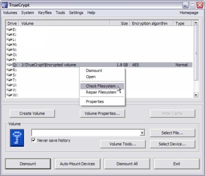 TrueCrypt screenshot (410 pix)