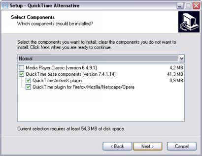 QuickTime Alternative setup screenshot (410 pix)