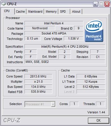 CPU-Z 1.44 screenshot