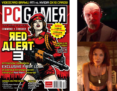 Red Alert 3 cover (links), Red Alert personages (rechts)