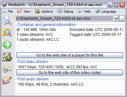 MediaInfo 0.7.5.9 screenshot