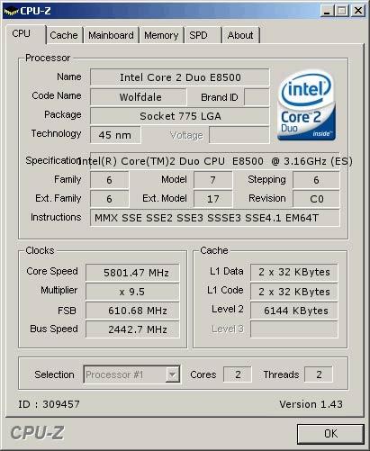 E8500 geklokt op 5,8GHz
