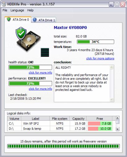HDDlife Pro 3.1.157 screenshot (410 pix)