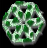 Hexagon bestaande uit zes DNA-driehoeken