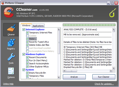 Crap Cleaner 2.05.555 screenshot (410 pix)