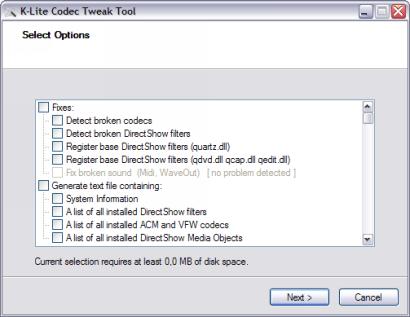 K-Lite Codec Tweak Tool screenshot (410 pix)