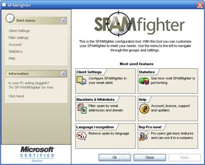 SPAMfighter screenshot (410 pix)