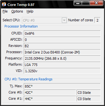 CoreTemp 0.97 screenshot
