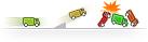 Crashende Pricewatch-vrachtwagentjes