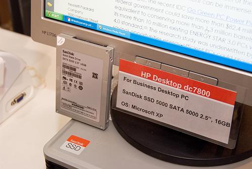 Cebit 2008: SanDisk ssd in HP business desktop