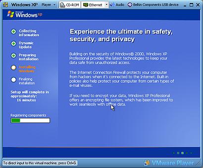 Vmware Player tijdens de installatie van Windows XP