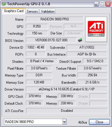GPU-Z 0.1.8 screenshot