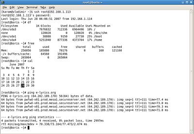 Gnome Terminal 2.18.1 draait OpenSSH 4.6 op Arch Linux 2007.05