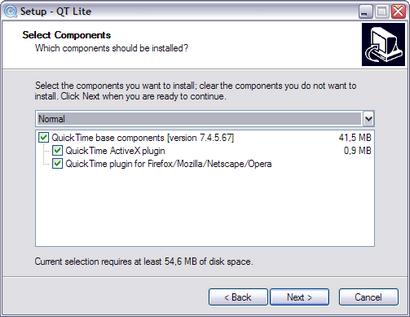 QT Lite 2.5.0 - installatie (410 pix)