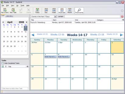 Mozilla Sunbird 0.8 screenshot (410 pix)