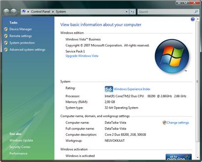 Microsoft Windows Vista met SP 1 screenshot (410 pix)
