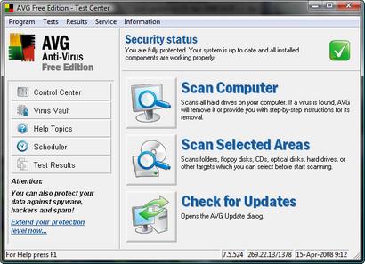 AVG Anti-Virus Free Edition 7.5.524 screenshot (410 pix)