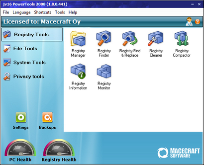 jv16 PowerTools 2008 1.8.0.441 screenshot (410 pix)