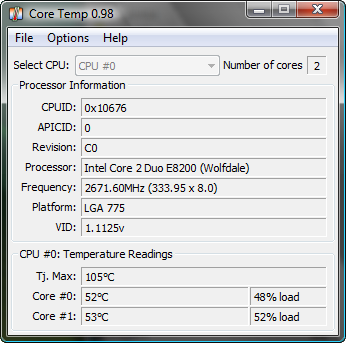 CoreTemp 0.98 screenshot