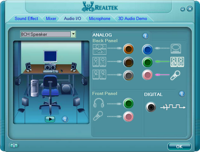 Realtek HD Audio screenshot (410 pix)