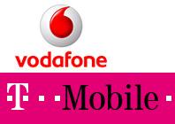 T-Mobile en Vodafone logos
