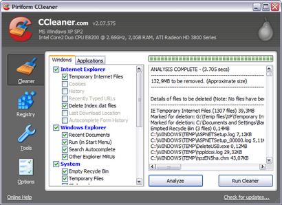 Crap Cleaner 2.07.575 screenshot (410 pix)