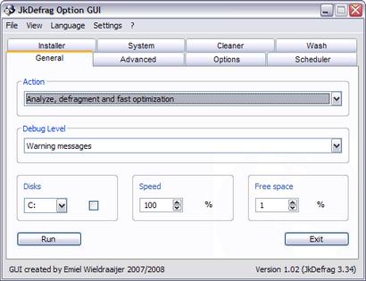 JkDefragGUI 1.02 screenshot (410 pix)