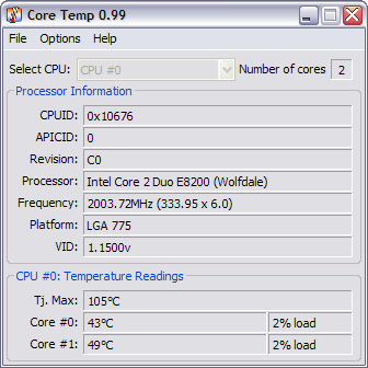 CoreTemp 0.99 screenshot