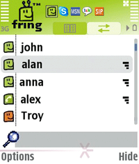 Fring, messagingtoepassing op Symbian-telefoon