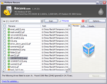 Recuva 1.14.321 screenshot (410 pix)
