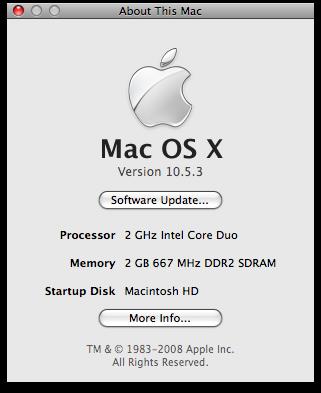 About This Mac - Mac OS X 10.5.3