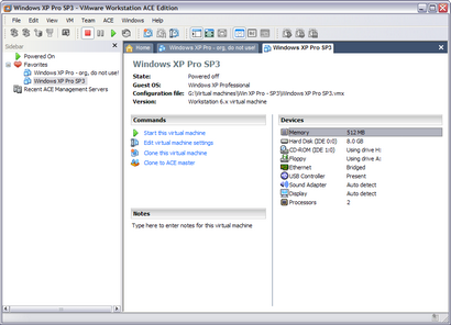 VMWare Workstation screenshot (410 pix)