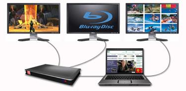 Xgp externe videokaart met drie losse beeldschermen