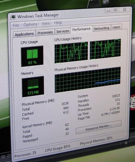 Processorbelasting Intel Atom tijdens afspelen 72p-film