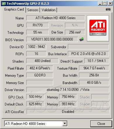 Radeon HD 4850 Gpu-z