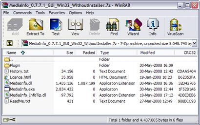 WinRAR screenshot (410 pix)