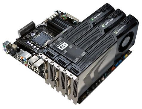 nVidia GeForce 280 GTX-kaarten in drieweg sli-opstelling