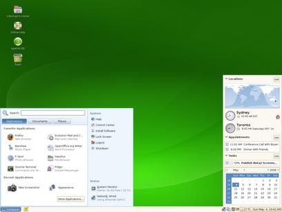openSUSE 11.0 met Gnome desktop (410 pix)