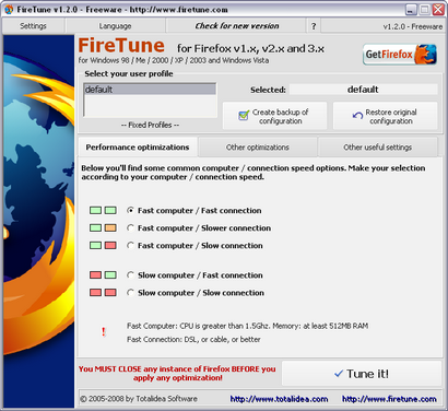 FireTune 1.2.0 screenshot (410 pix)